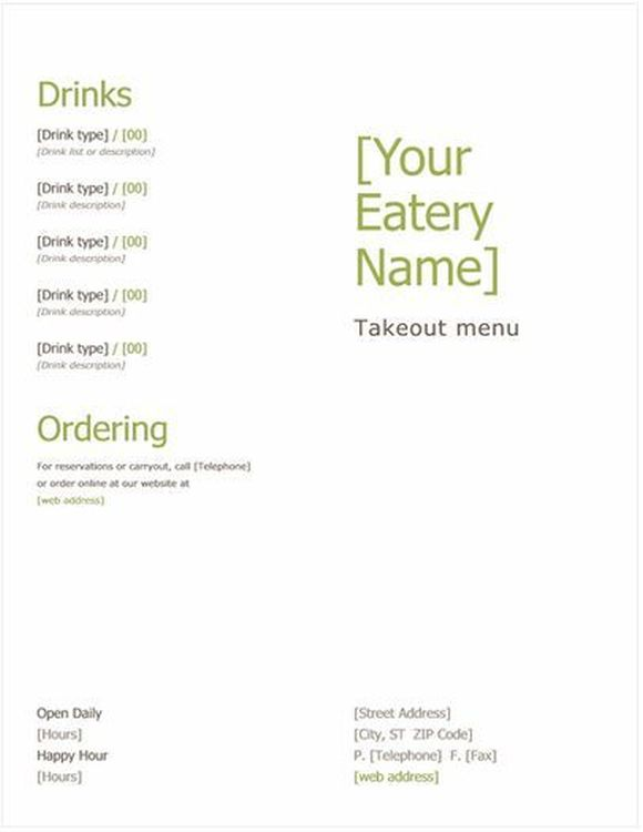 takeout menu template