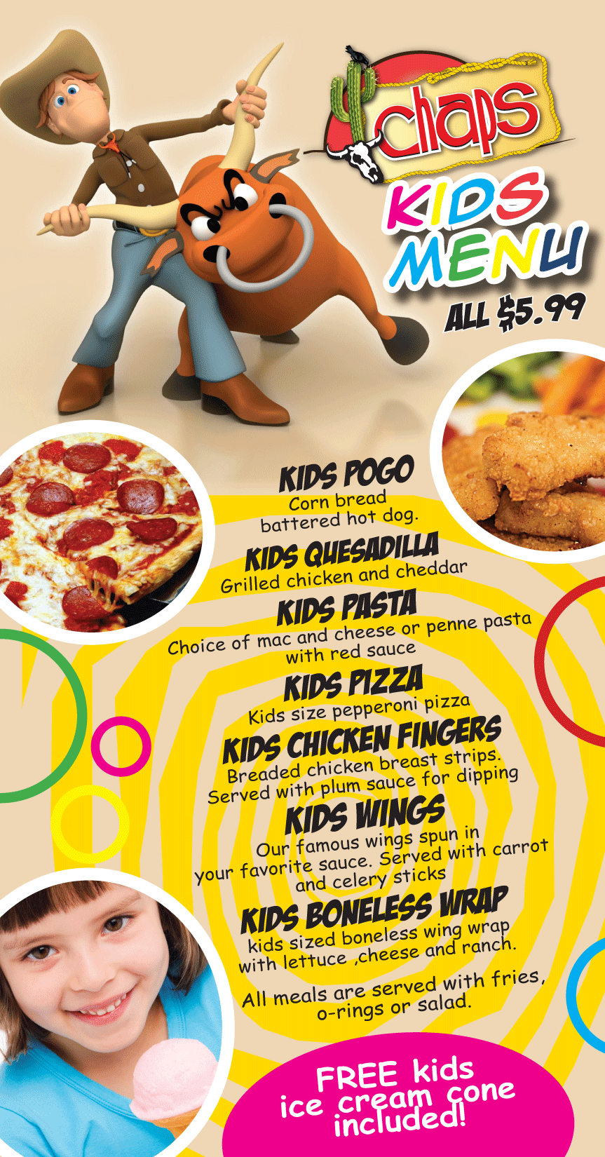 prix fixe menu for kids