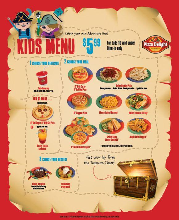 prix fixe menu kids menu