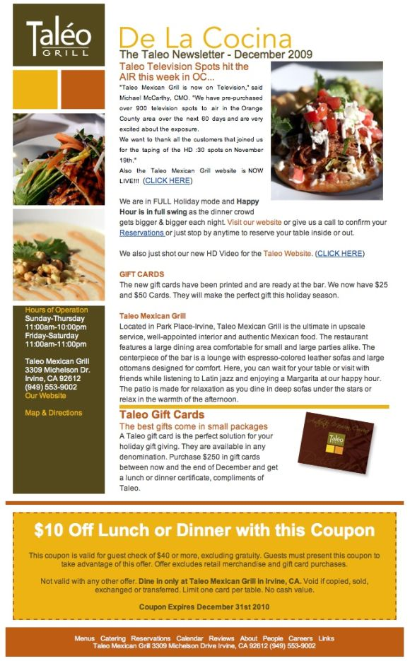 restaurant email marketing example