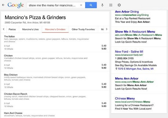 google restaurant menu