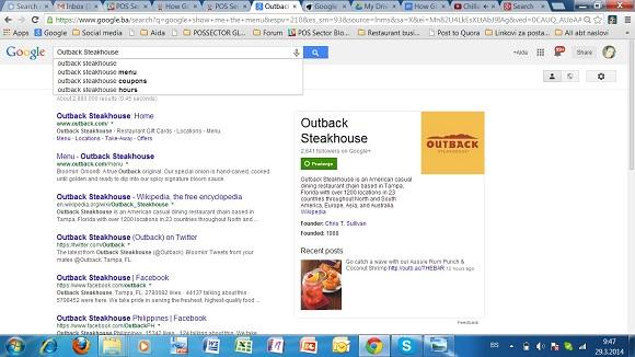 google show me the menu