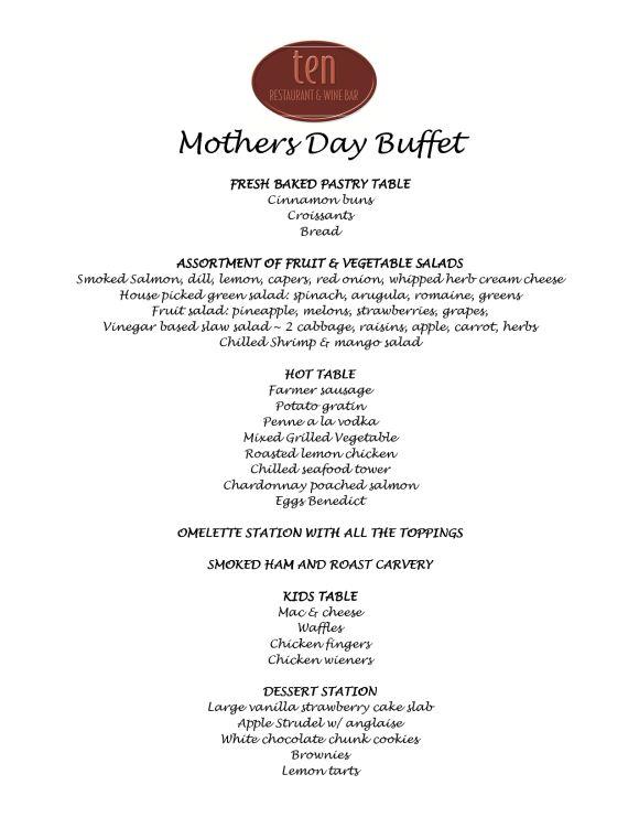 Happy Mother S Day Restaurant Menu