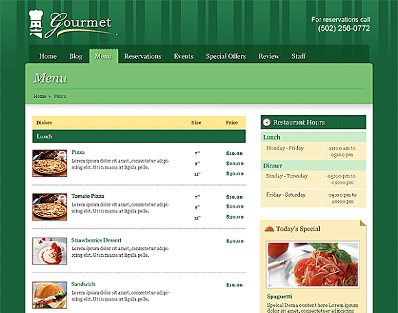 seo for restaurant page menu