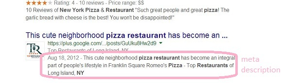 seo for restaurant meta description