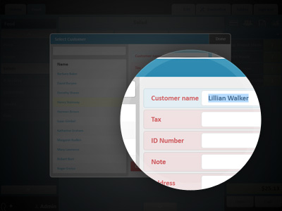 Entry of customers' data